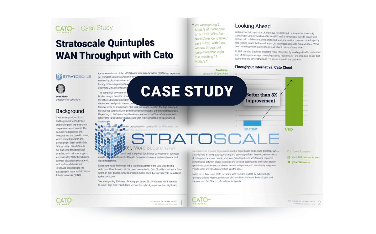 Stratoscale Boosts Throughput 8X with Cato Cloud