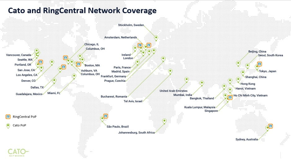 Cato and RingCentral Network Coverage