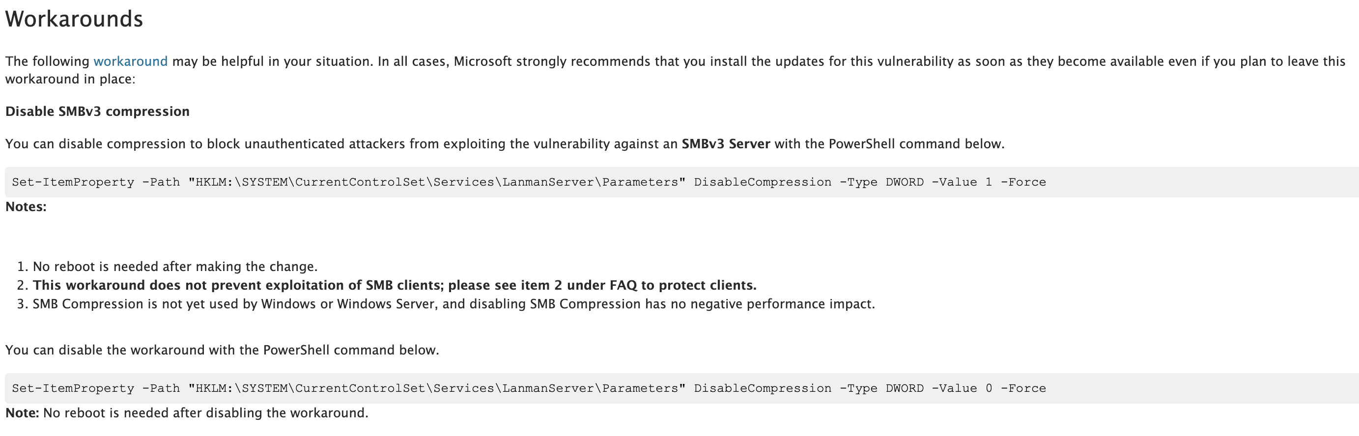 Microsoft Instructions for Disabling SMBv3 Compression